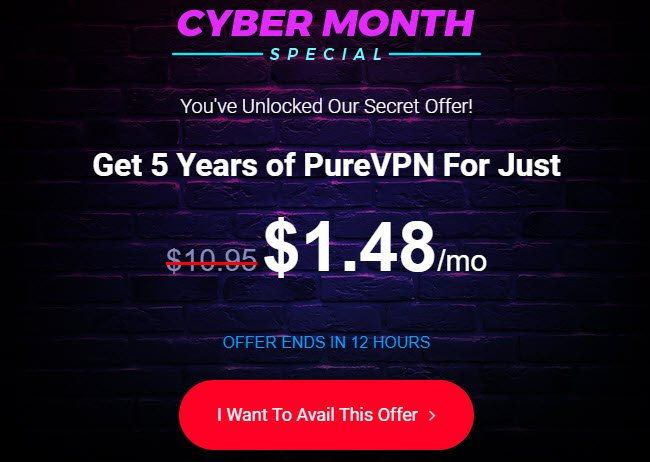 PureVPN Cyber-month Special